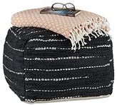 Relaxdays Pouffe Black, Footstool Cushion with Leather Padding Hand-Woven, Cube Bean Bag H x W x D: 38 x 57 x 54 cm