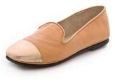 French Sole Metallic Cap Toe Loafers