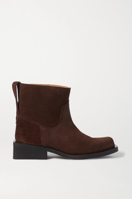 Ganni Suede Ankle Boots - Brown