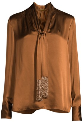 Elie Tahari Kendal Beaded Tie-Neck Silk Blouse