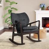 Laurèl Quamba Rocking Chair Foundry Modern Farmhouse Color: Espresso/Dark Gray, Fabric: Dark Gray