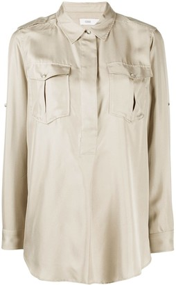 Closed Military-Style Silk Blouse