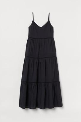 H&M V-neck Cotton Dress - Black