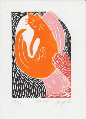 FOUND shop & studio - Cat Nap Linocut Print