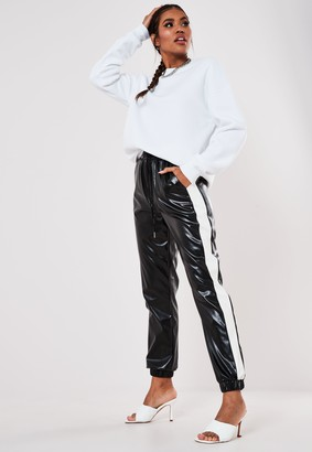 Missguided Petite Black Faux Leather Contrast Stripe Joggers