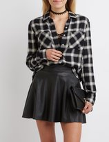 Charlotte Russe Lightweight Plaid Button-Up Shirt