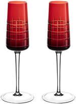 Christofle Graphik Champagne Flutes - Set of 2 - Red