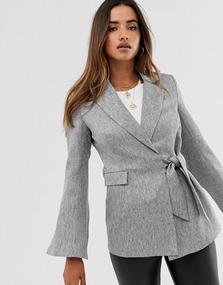 UNIQUE21 tie front blazer-Grey