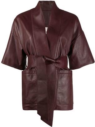L'Autre Chose Belted Leather Jacket
