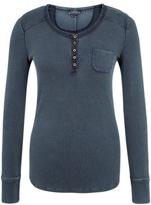Fat Face Garment Dye Ribbed Henley Top, Dusk Blue