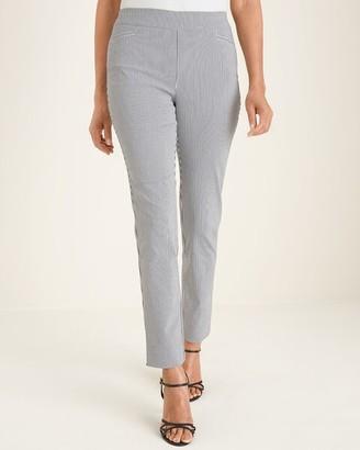 So Slimming Brigitte Mini-Stripe Slim Ankle Pants