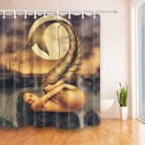 KOTOM Mermaid Decor Shower Curtains By JAWO Woman Lying On Stone Under A Full Moon Night Bath Curtains,72X72 Inches, Brown