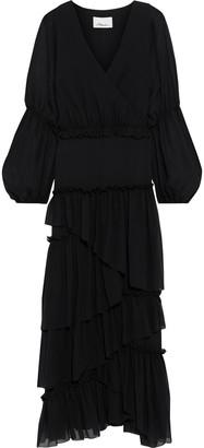 3.1 Phillip Lim Wrap-effect Tiered Silk-chiffon Maxi Dress