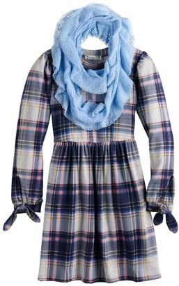 Knitworks Girls 7-16 & Plus Size Knit Works Hacci Dress & Matching Scarf