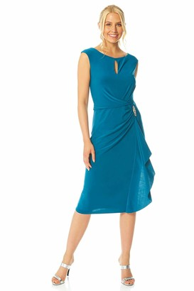 Roman Originals Women Side Waterfall Embellished Midi Dress - Occasion Evening Special Event Formal Party Cocktail Autumn Winter Flattering Sleeveless Round Neckline Dress - Teal - Size 12