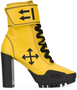 Off-White Lace-Up Leather Boots
