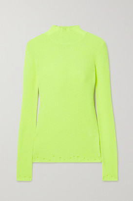 Les Rêveries Neon Distressed Ribbed Cashmere Turtleneck Sweater - Bright yellow