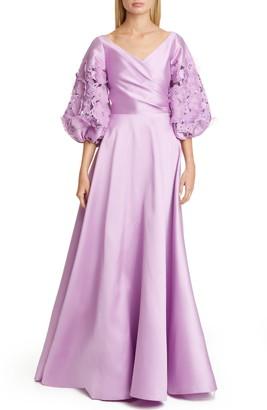 Sachin + Babi Keagan Floral Lace Blouson Sleeve Ballgown