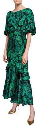 Rixo Cheryl Palm Leaf-Print Georgette Dress