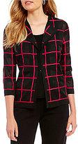 Ming Wang Lapel Collar Box Pattern Jacket