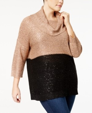 Belldini Plus Size Sequined Cowl-Neck Sweater