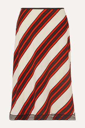 Tory Burch Velvet-trimmed Striped Cady Midi Skirt - Orange