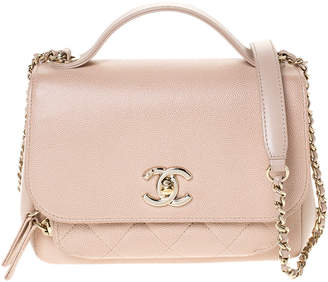 Chanel Beige Caviar Leather Small Business Affinity Flap Shoulder Bag
