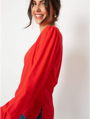 George Red Textured Button Back Blouse