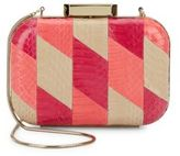 Badgley Mischka Theresa Snake-Embossed Leather Minaudiere