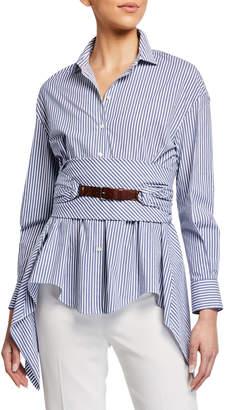 Brunello Cucinelli Button-Down Striped Cotton Poplin Blouse with Wrap Belt