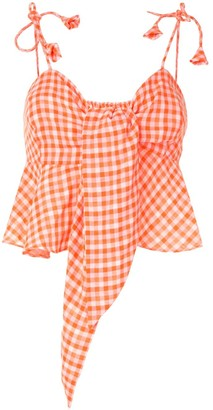 Bambah Gingham Print Cropped Top