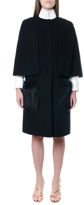 Fendi Black Virgin Wool Coat With Fox Fur Details