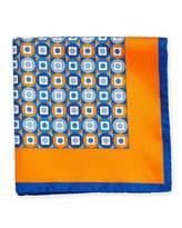 Kiton Geometric Printed Silk Pocket Square, Orange