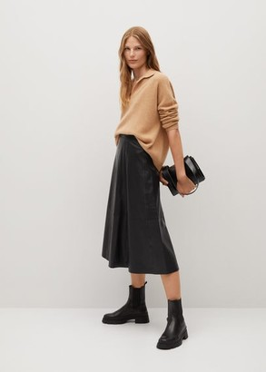 MANGO Ruffled leather skirt