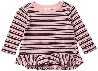 Splendid Striped Long Sleeve Ruffle T-Shirt (Baby Girls)