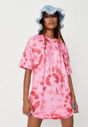 Missguided Pink Tie Dye T Shirt Dress