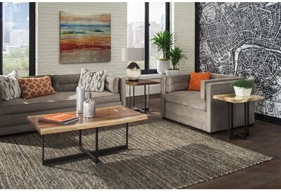 Thumbnail for your product : MacKenzie-Dow Live Edge 2 Piece Coffee Table Set Color: Acanthus