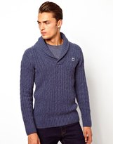 G Star Knit Sweater Nimrod Shawl Collar Oxford Cable