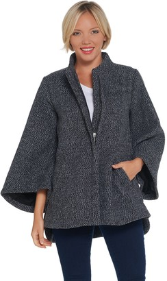 H by Halston Zip-Front Wool Cape Jacket