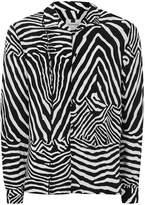 Topman Black And White Zebra Revere Shirt