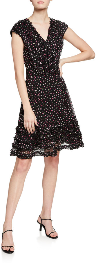 Jason Wu Collection Fluttering Floral-Print Crinkled Silk Dress