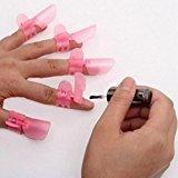 Nail Polish Care TOOPOOT 10x Pink Manicure Finger Nail Art Design Tips Cover Polish Shield Protector Clip