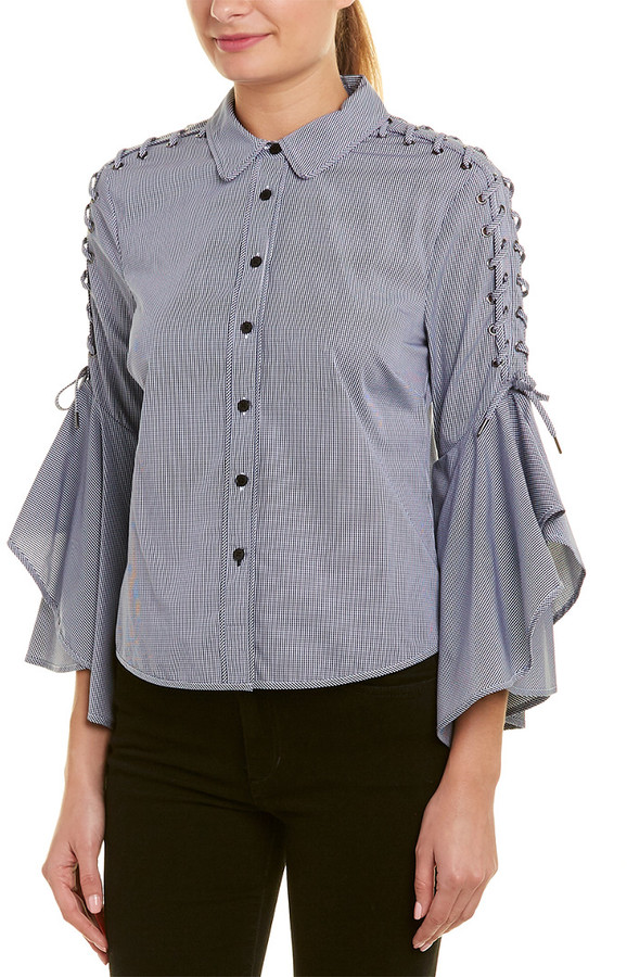 Bell Sleeve Grommet Whip Stitch Top