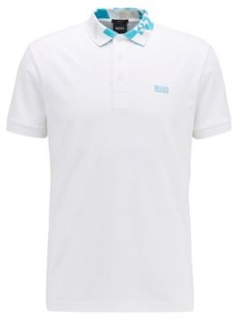 HUGO BOSS Slim Fit Polo Shirt With S.Cafe And Logo Collar - White