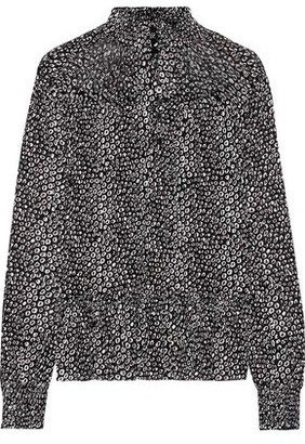 Diane von Furstenberg Shirred Printed Stretch-mesh Top
