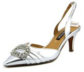 Kay Unger Fairleetoo Women Pointed Toe Leather Silver Slingback Heel.
