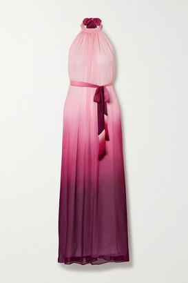 Jonathan Simkhai Fringed Ombre Crinkled Chiffon Halterneck Maxi Dress - Magenta