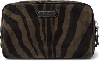 Tom Ford Zebra-Print Suede Wash Bag