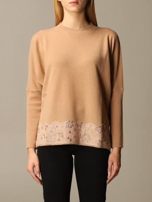 Blumarine Sweater Cashmere With Rhinestone Lace Bottom