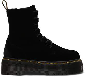 Dr. Martens Jadon Velvet Wedge Boots with Lace-Up Fastening